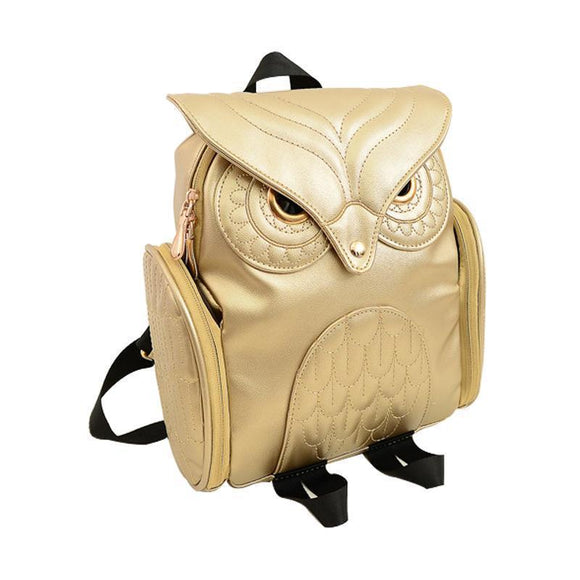 Cute Genuine Leather Owls Rucksack In Black & Gold-Gold-