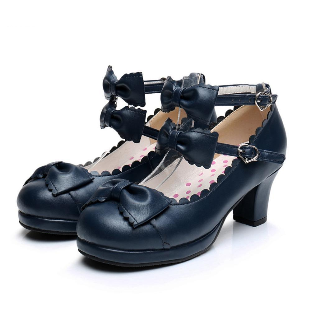 Cute Girls Double Bowtie High Heel Lolita Shoes-Black-4-