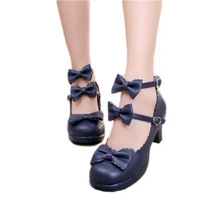 Cute Girls Double Bowtie High Heel Lolita Shoes - The Black Ravens