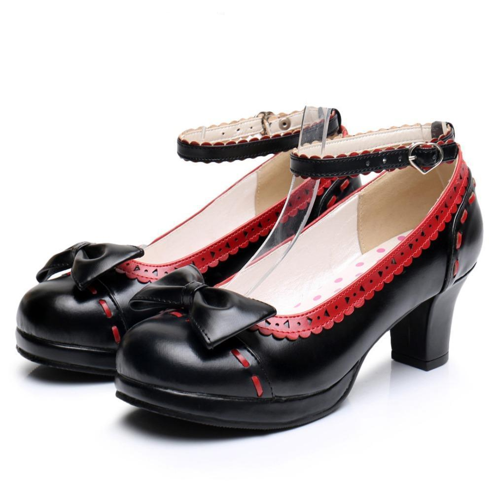 Cute Girls Lolita Bow Faux Leather High Heel Shoes-Black-5-