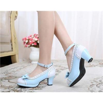 Cute Girls Lolita Bow Faux Leather High Heel Shoes-Blue-4.5-