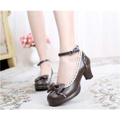 Cute Girls Lolita Bow Faux Leather High Heel Shoes-Brown-4.5-