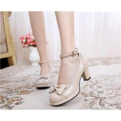 Cute Girls Lolita Bow Faux Leather High Heel Shoes-Khaki-4.5-