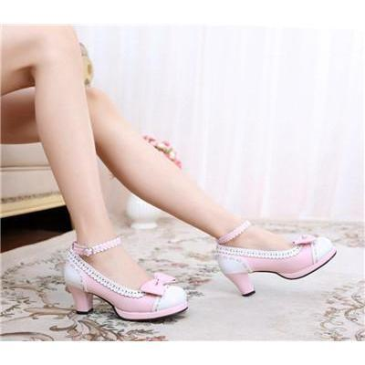 Cute Girls Lolita Bow Faux Leather High Heel Shoes-Pink-4.5-