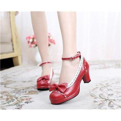Cute Girls Lolita Bow Faux Leather High Heel Shoes-Red-4.5-