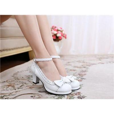 Cute Girls Lolita Bow Faux Leather High Heel Shoes-White-4.5-