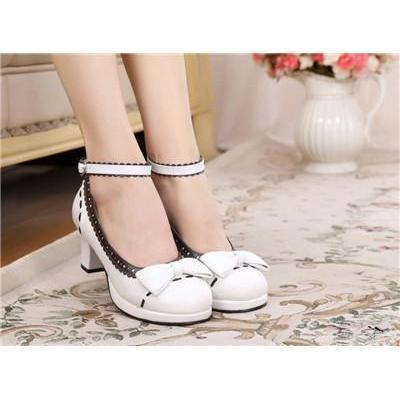 Cute Girls Lolita Bow Faux Leather High Heel Shoes-White Brown-4.5-