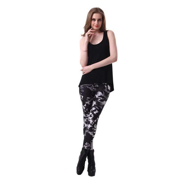 Cute Girl's Mysterious Bird Leggings - The Black Ravens