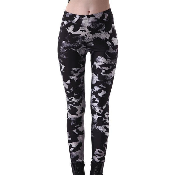 Cute Girl's Mysterious Bird Leggings-Black-S-