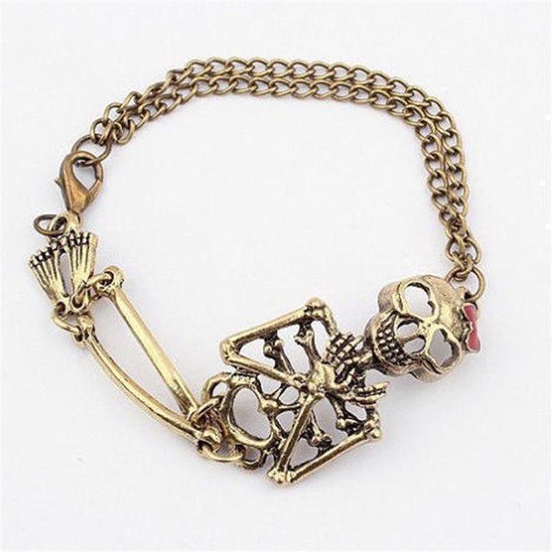 Cute Golden Skeleton Charm Bracelets For Women - The Black Ravens