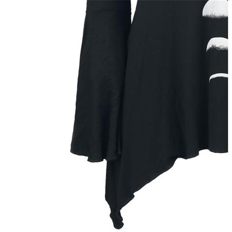 Cute Gothic Moon Phases Long Tops-Black-S-