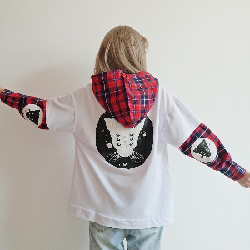 Cute Kitty Punk Ladies Hoodie - The Black Ravens