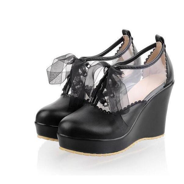 Cute Lace Up Leather Lolita Wedges - The Black Ravens