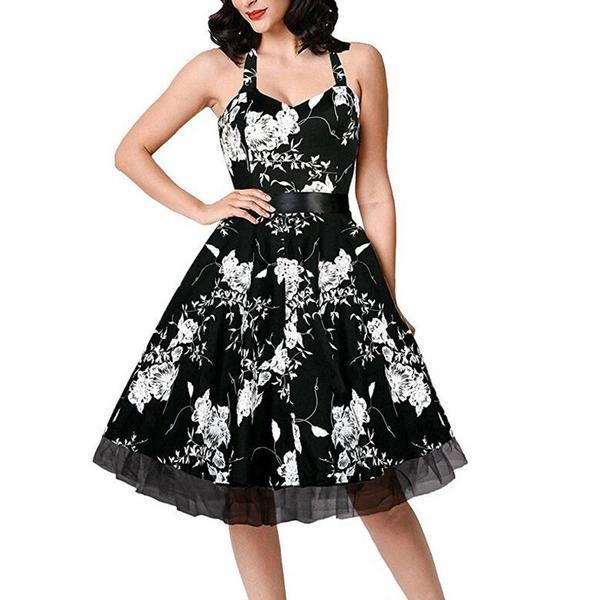 Cute Ladies Summer Knee Length Floral Dresses-Black-S-