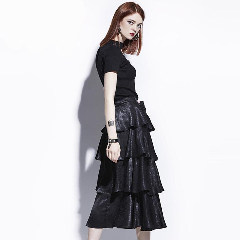 Cute Layered Black Goth Skirt-Black-S-