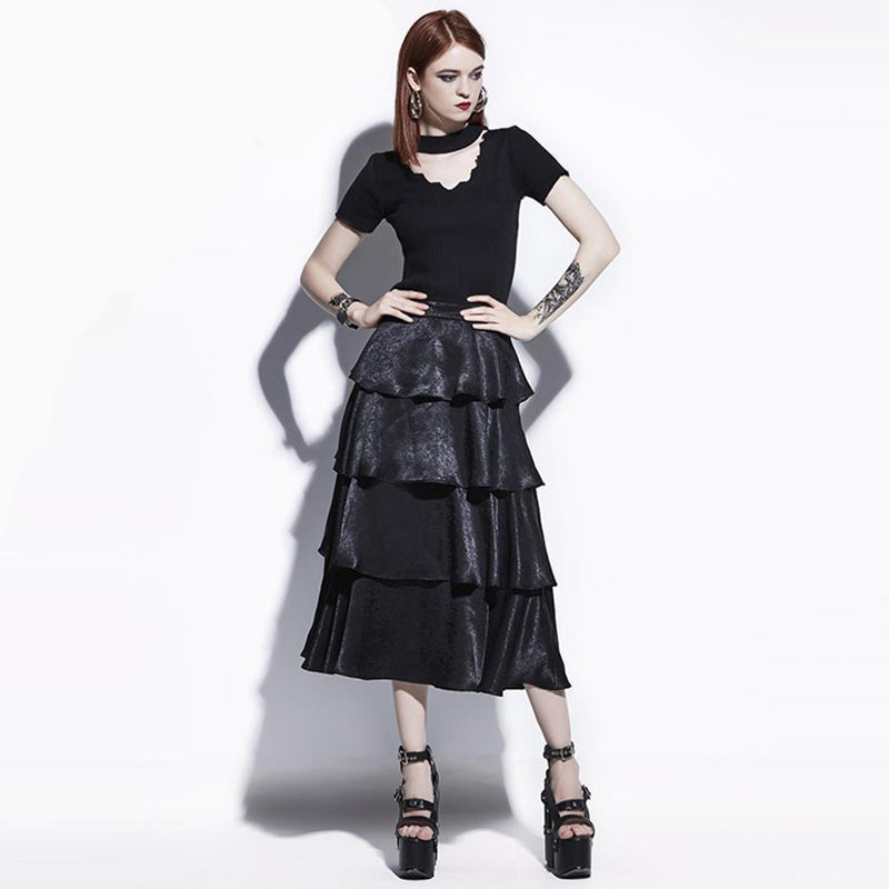 Cute Layered Black Goth Skirt - The Black Ravens