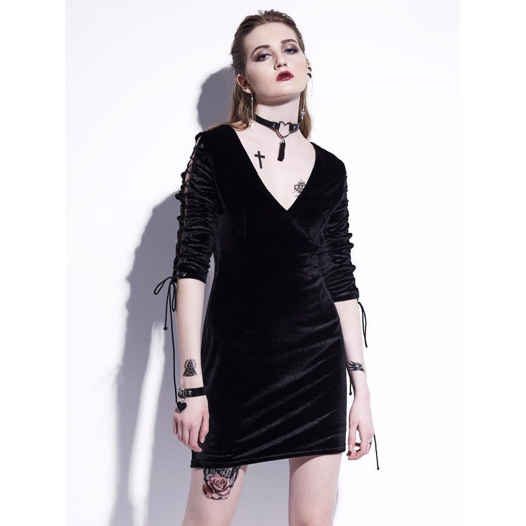 Cute Open Back Lace-Up Dresses For Women - The Black Ravens