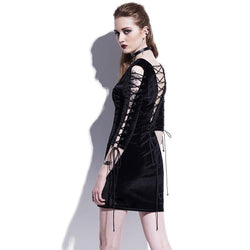 Cute Open Back Lace-Up Dresses For Women-Black-S-
