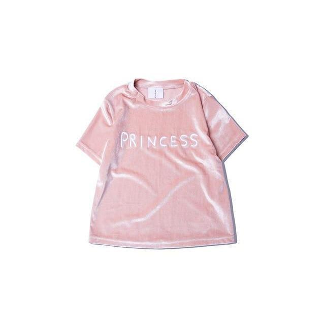Cute Princess Velvet Tee-Pink-L-