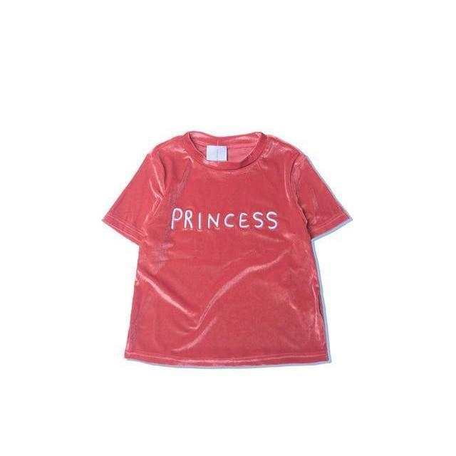 Cute Princess Velvet Tee-Watermelon Red-L-