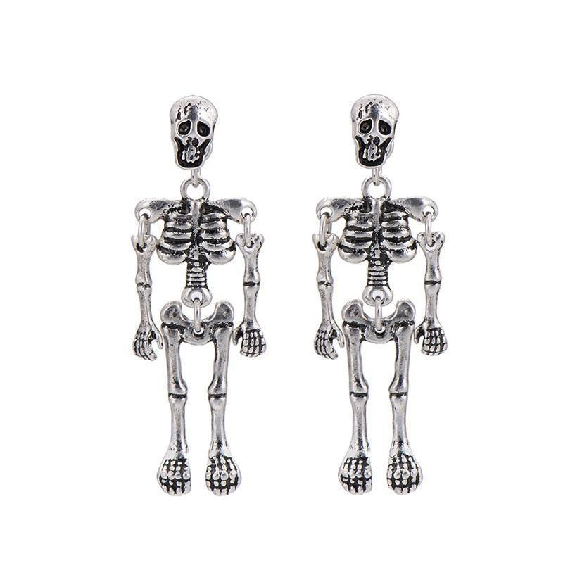Cute Quirky Women's Golden & Silver Plated Skeletons Earring - The Black Ravens