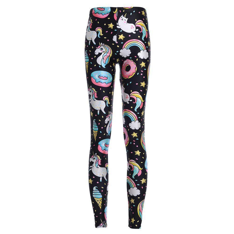 Cute Rainbow Unicorn Printed Fitness Leggings - The Black Ravens