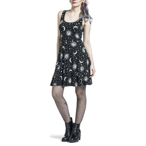 Cute Rocker Solar Sky Dresses-Black-S-