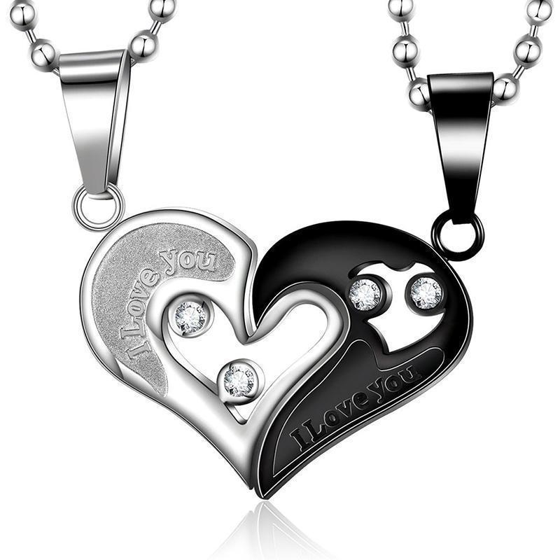 Cute Romantic Couples Lovers Charms-Black & Silver-