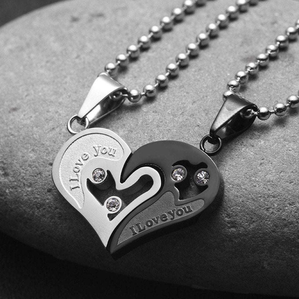 Buy silver titanium two part love heart necklace for couples online the black ravens