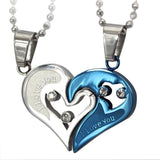 Cute Romantic Couples Lovers Charms-Blue & Silver-