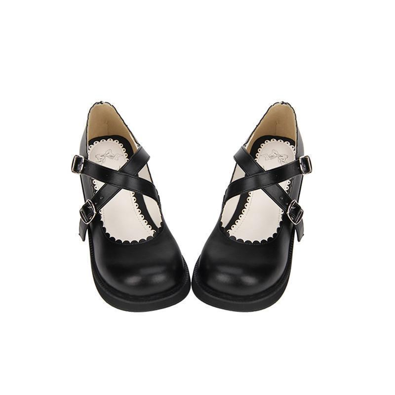 Cute School Girl Mary Jane Wedge Shoes-Black-5-