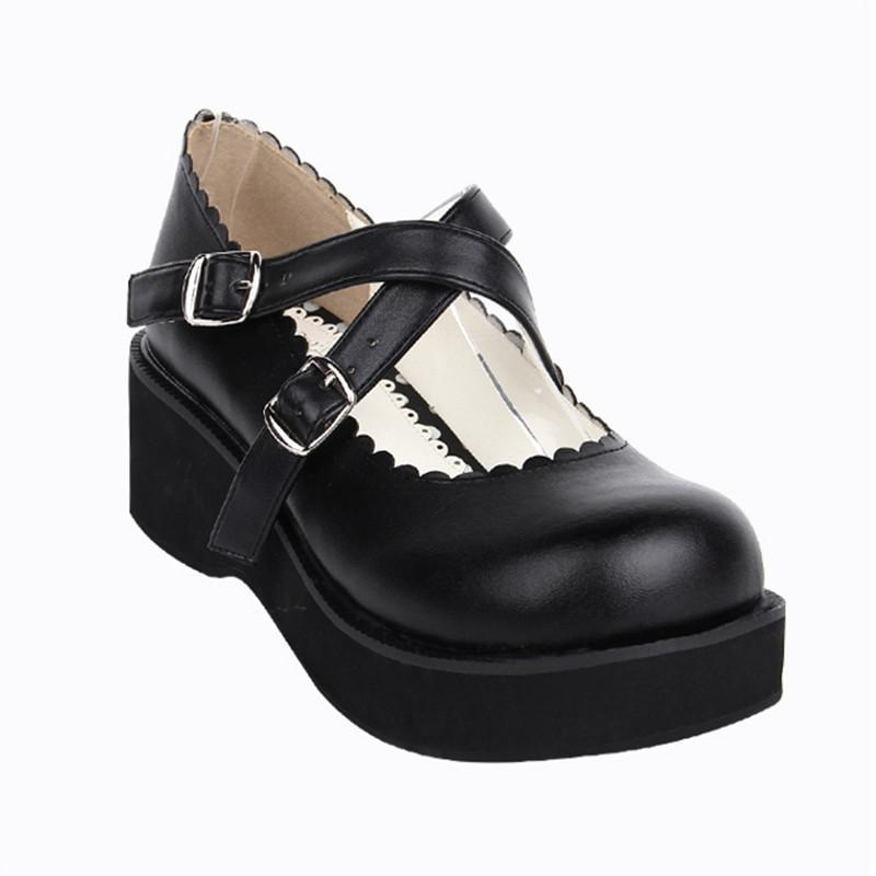 Cute School Girl Mary Jane Wedge Shoes - The Black Ravens