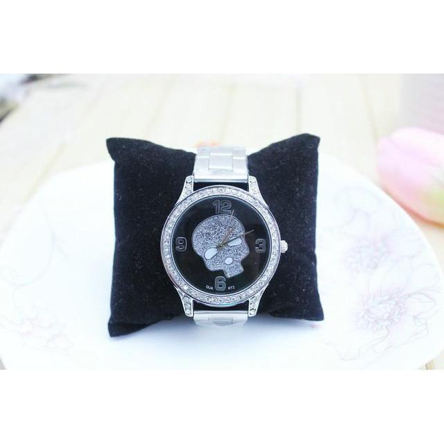 Cute Silver Skeleton Head Alternative Timepieces For Women-Black-