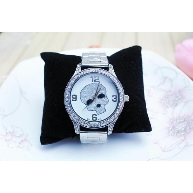 Cute Silver Skeleton Head Alternative Timepieces For Women-White-