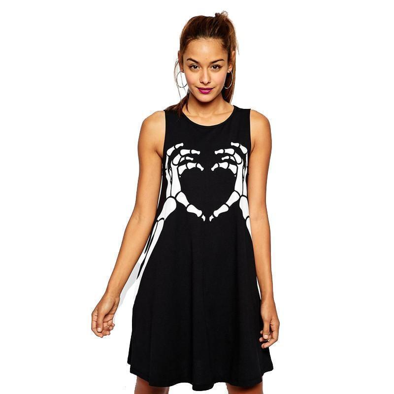 Cute Skulls Heart Mini Dresses - The Black Ravens