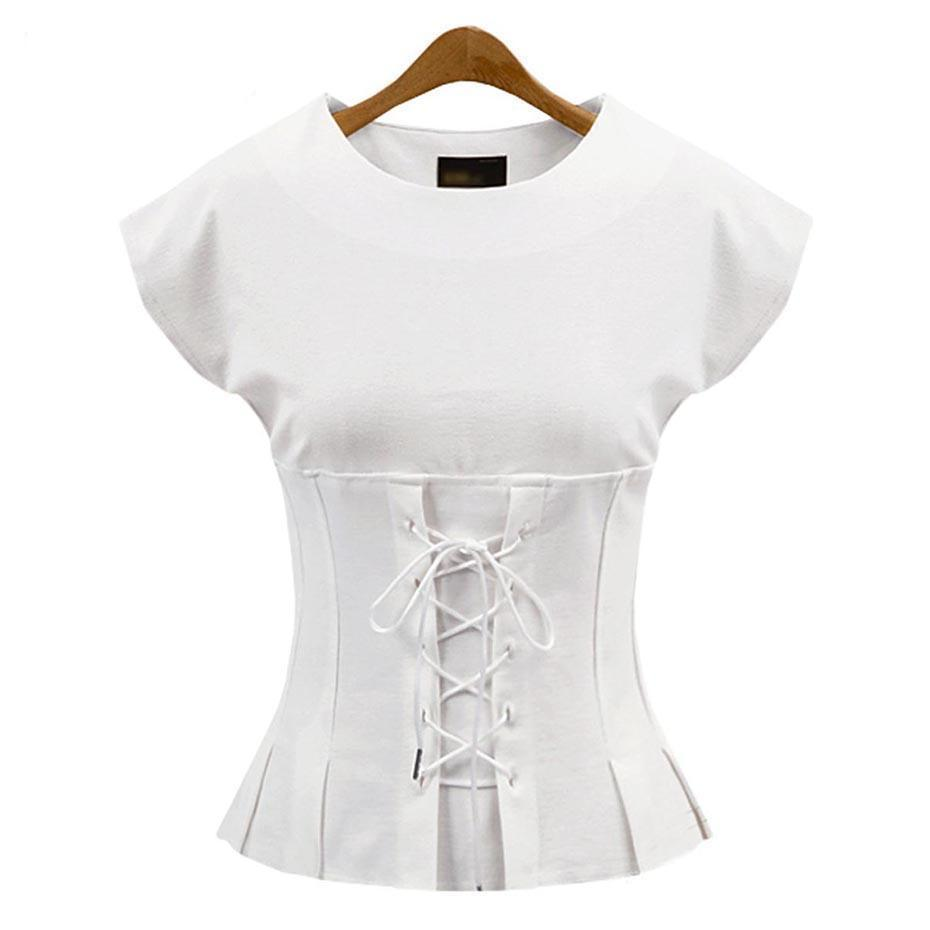 Cute Slim Bandage Bow Top For Women-White-L-