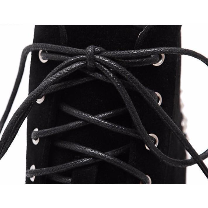 Cute Spike Punk Platforms-Black Leather-4-