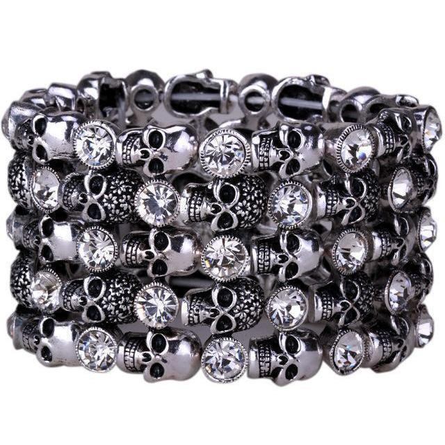 Cute Stainless Steel Crystal Skulls Bracelets For Women-Silver Clear-1-