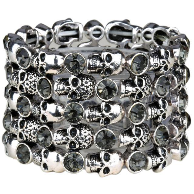 Cute Stainless Steel Crystal Skulls Bracelets For Women-Silver Grey-1-