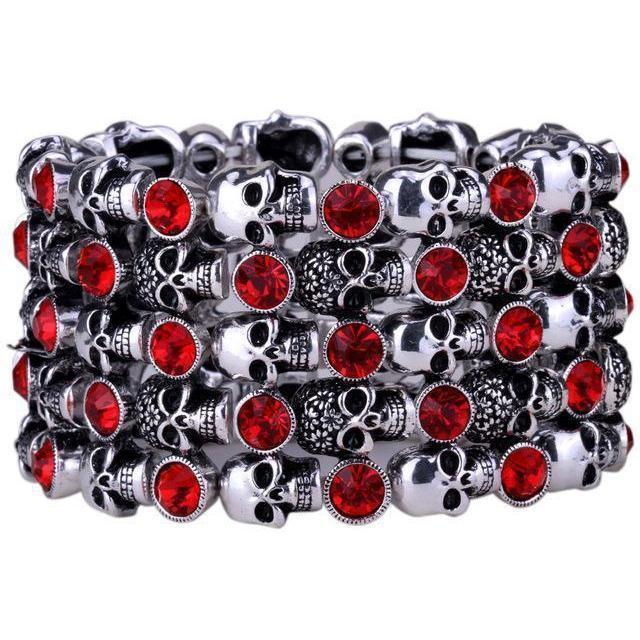 Cute Stainless Steel Crystal Skulls Bracelets For Women-Silver Red-1-