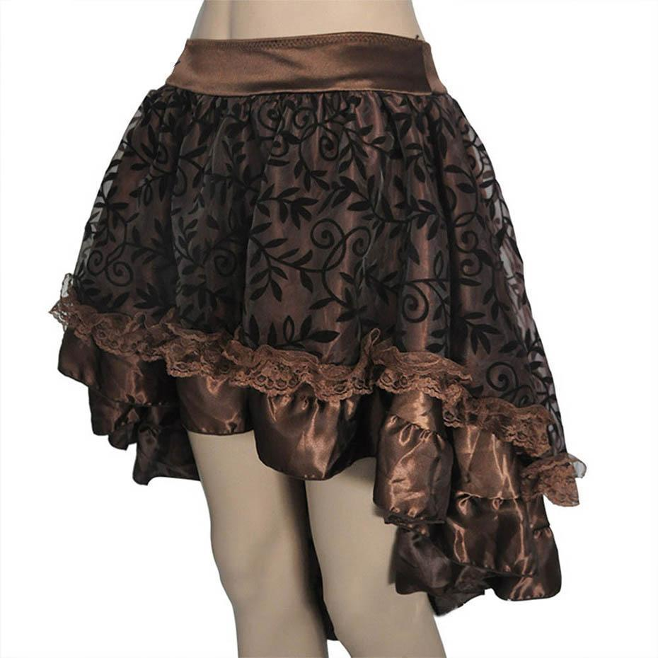 Cute Steampunk Vintage Lace Skirt-Brown-S-