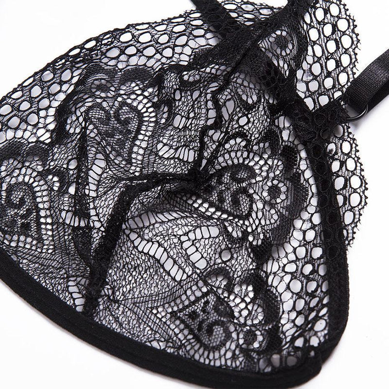Cute Tassel See-Through Lace-Up Bras - The Black Ravens