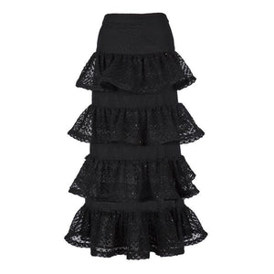 Cute Wave Layered Office Skirts-Black-S-