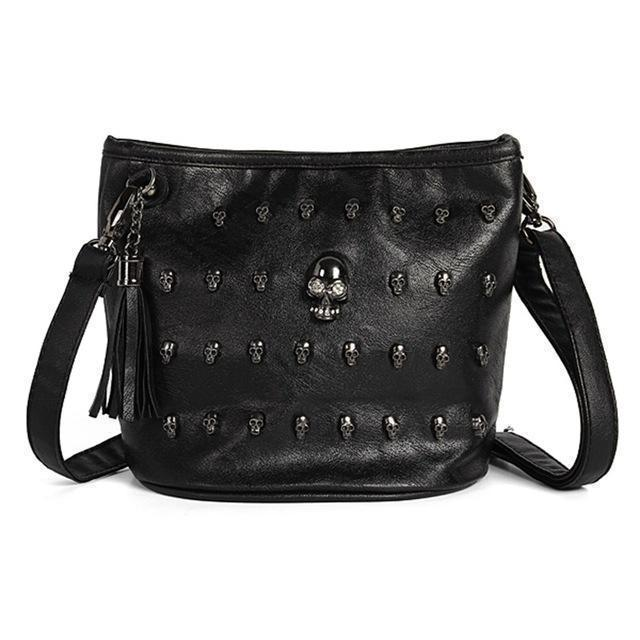 Cute Women's Unusual Rocker Skeleton Head Bag - The Black Ravens
