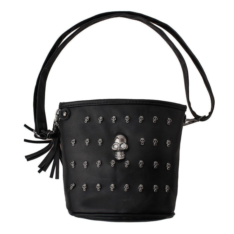 Cute Women's Unusual Rocker Skeleton Head Bag-