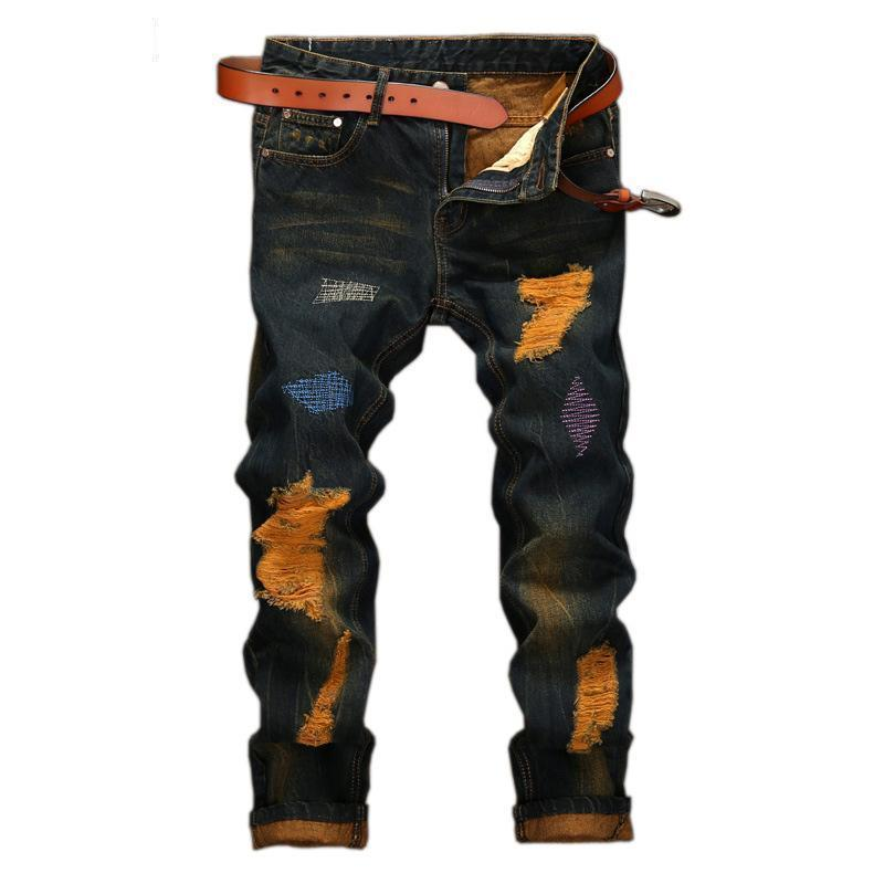 Dark Blue And Orange Retro Men's Trousers-Blue-29-