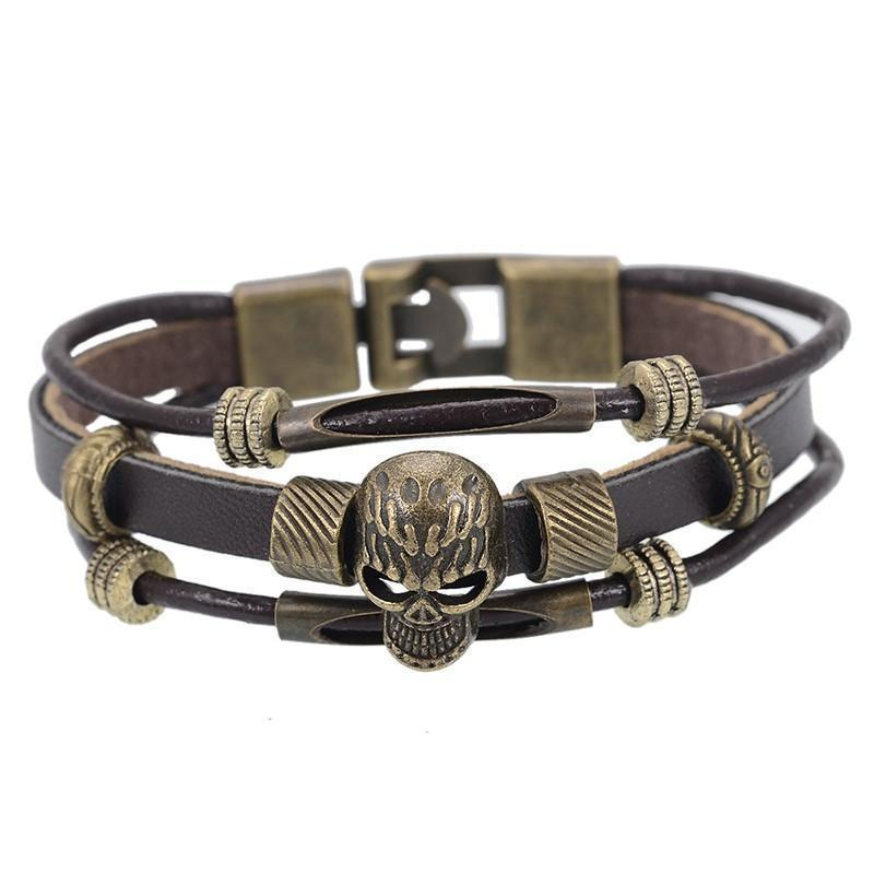 Badass Alternative Skull Head Bangle For Men