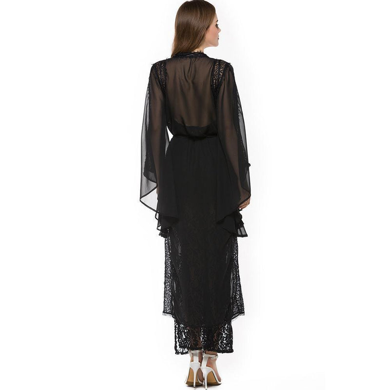 Dark Enchantress Witch Long Lace Dress-