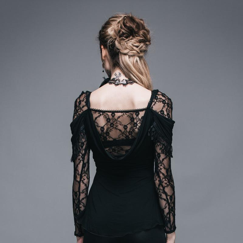 Dark Lacey Sleeve Gothic T-Shirt - The Black Ravens