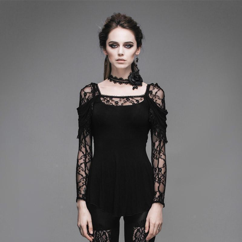Dark Lacey Sleeve Gothic T-Shirt-Black-XS-